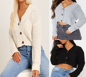 Womens Ladies Chunky Cable Knitted Short Cardigan 3 Button Long Sleeves Crop Top