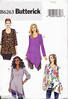 BUTTERICK SEWING PATTERN 6263 WOMENS SZ 18W-24W PULLOVER TUNICS/TOPS, PLUS SIZES
