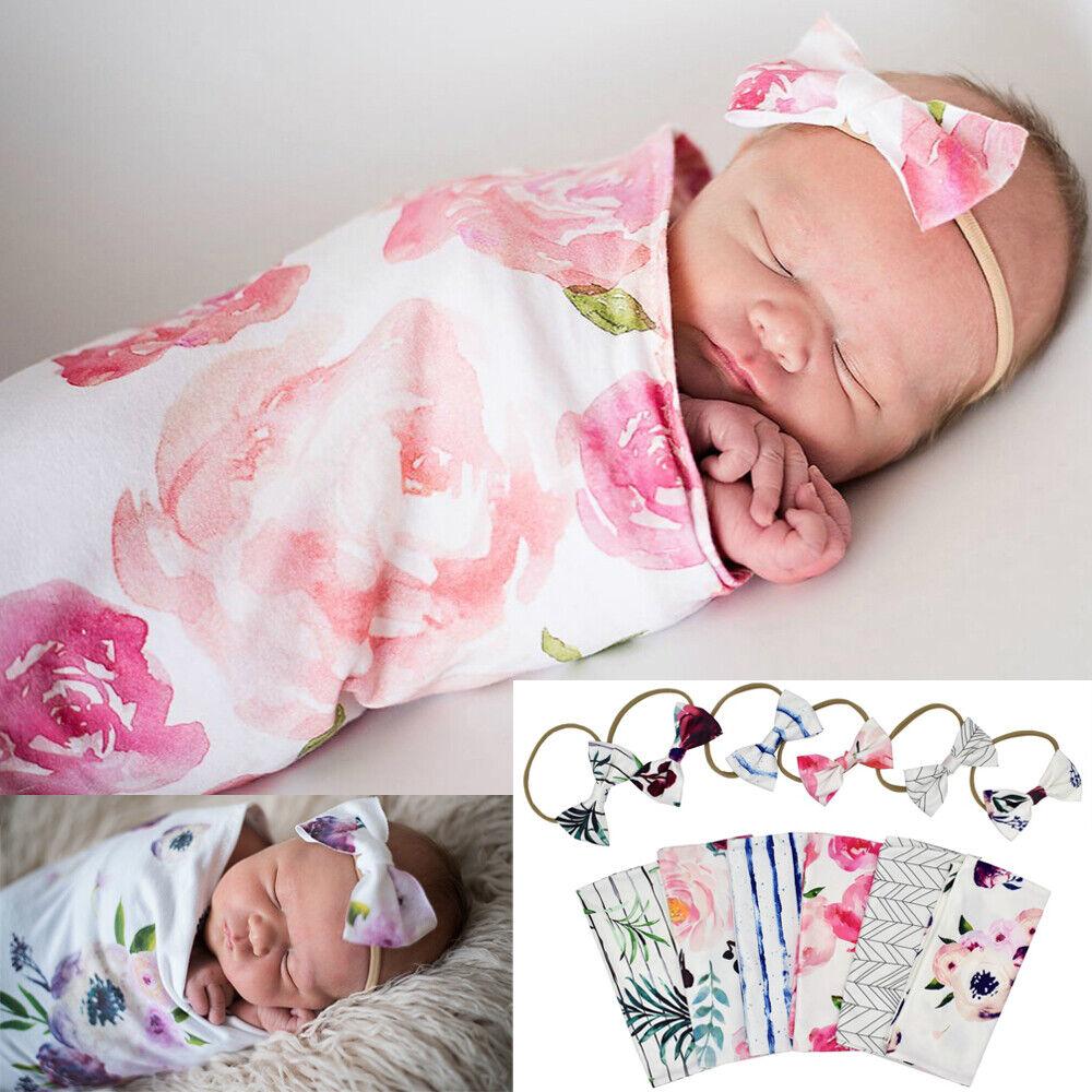 Neugeborene Wickeldecke Baby Jungen Mädchen Schlafsack Wrap Stirnband Tuch 0-2M