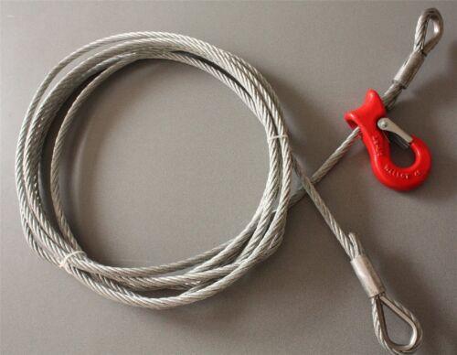 11 mm Forstseil mit 2 Schlaufen und einem Seilgleithaken Rückeseil Stahlseil