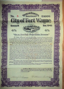 Bond-City-of-Fort-Wayne-Indiana-Real-Estate-Bond-1000-issued-1920