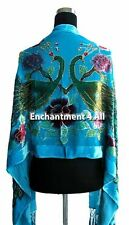 Handmade Stunning Beaded 100% Silk Velvet PEACOCK Oblong Shawl Wrap, Turquoise