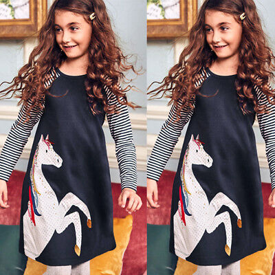 Baby Kid Girl Spring Clothes Horse Stripe Print Princes long sleeves Party Dress