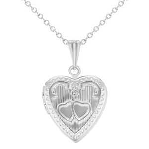 Silver-Tone-Love-Amor-Hearts-Pendant-Heart-Locket-Necklace-Girls-Kids-16-034