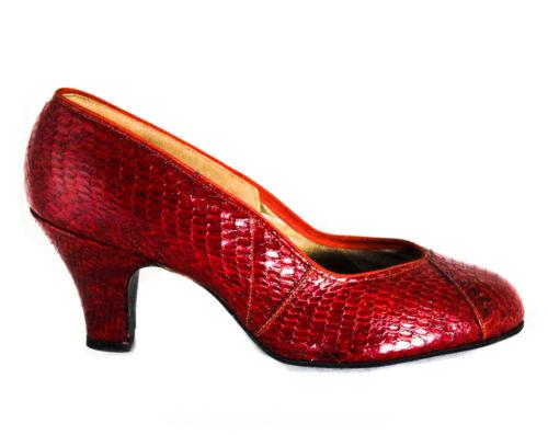 1940s Red Cobra Skin Shoes - 40s WWII Era Snakeski