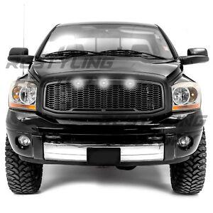 Raptor-Matte-Black-Front-Hood-Mesh-Grille-Shell-White-LED-fit-06-09-Dodge-RAM