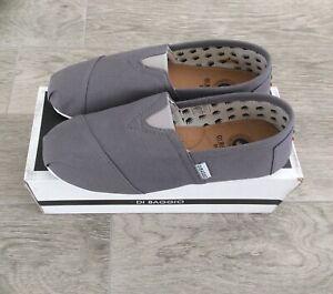 Tan Mens Di Baggio Espadrilles 2 Tone Canvas Slip On Pumps Grey
