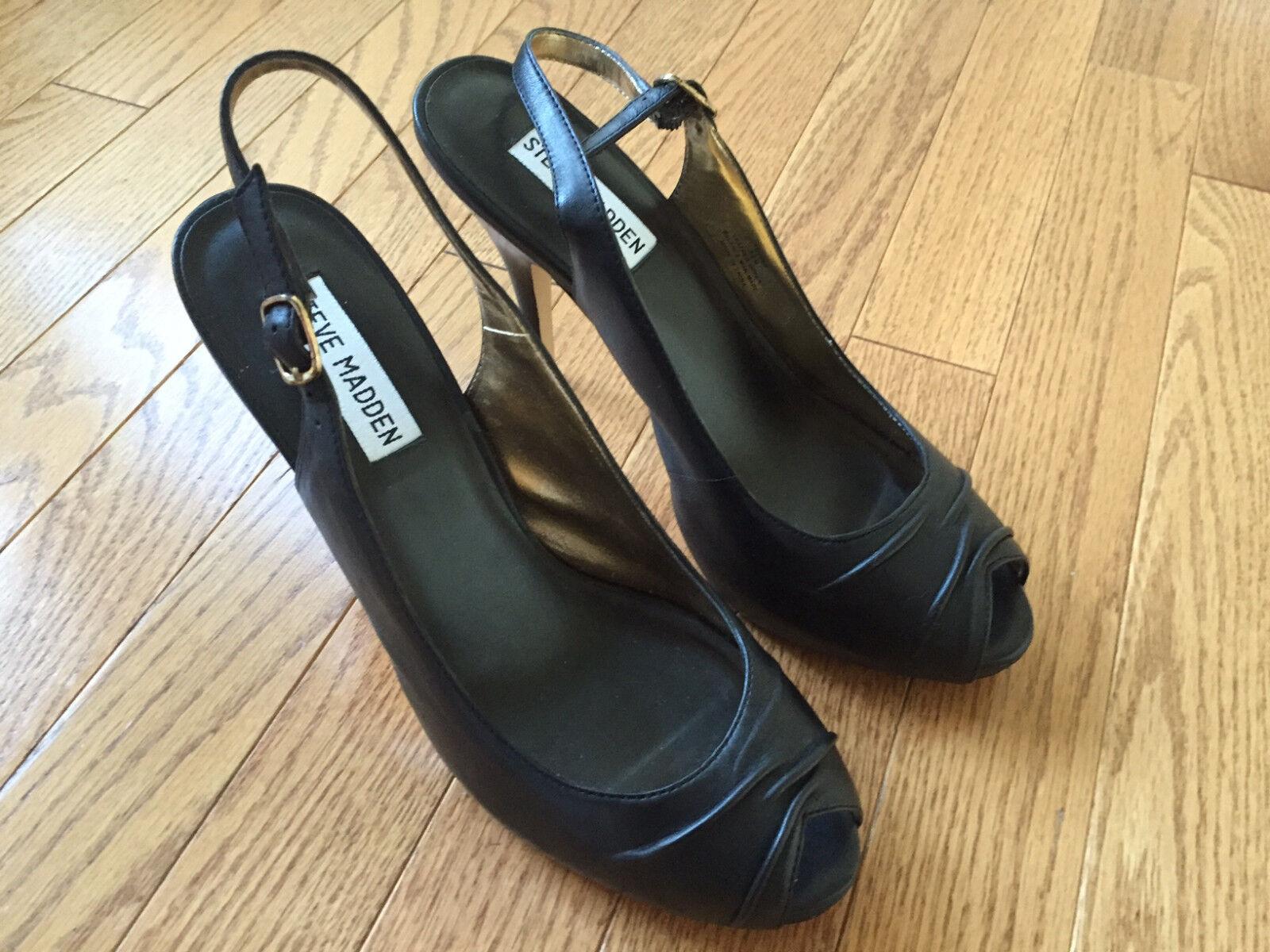 Steve Madden Fevver Black Leather Slingback Peep-toe Pumps 8.5
