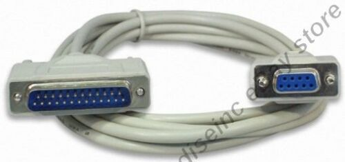 10ft long DB9pin Female~DB25 Male Straight Through RS232 Serial//Modem Cable//Cord