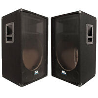 Seismic Audio - Two Empty 15 Inch Pa / Dj Speaker Cabinet With Titanium Horns on Sale