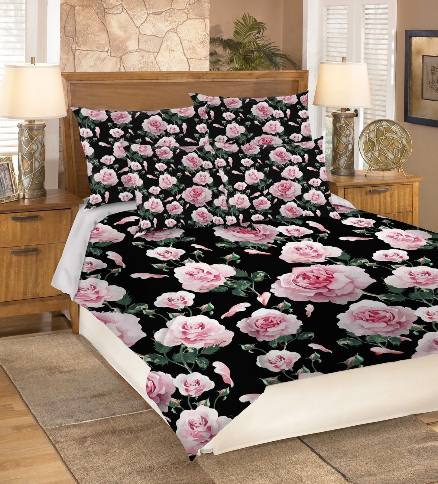 3D Flowers Painted 98 Bed Pillowcases Quilt Duvet Cover Set Single Queen King CA