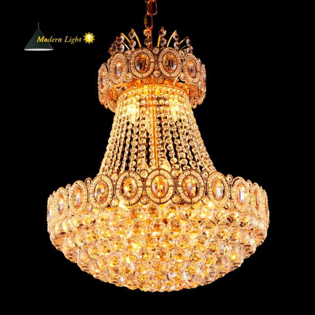 Ø60cm - Groß Gold Kristall Hängeleuchte Kronleuchter Deckenleuchte Pendelleuchte