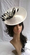 NEW IVORY & BLACK SINAMAY FASCINATOR .Turn up saucer disc,Wedding..races