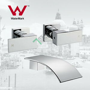 Brass-Bath-Basin-water-spout-1-4-turn-twin-taps-wall-mounted-Square-chrome-set