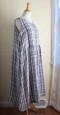 NEW Eskandar Elegant Gray Check Linen Sleeveless Art-to-Wear Dress Tunic Top 0