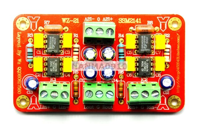 SSM2141 Balanced input and unbalanced output Dual Channel Preamplifier Board