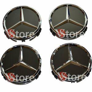 4 Tappi Coprimozzo 75mm Compatibili Per Mercedes A B E CLA CLK ML S Nero Stella