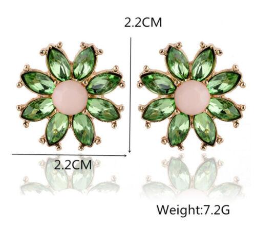 Para Mujer Dama Elegante Cristal Estrás Pendientes Oreja Pasador Cuelgan Joyería De Flores