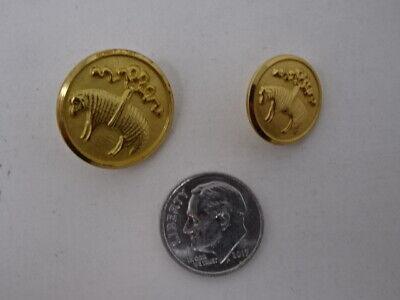 Lot of 10 Vintage Round Raised Gold Lion Emblem Uniform Button 20mm B409-6