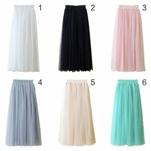 Women-High-Waist-80CM-Three-Layer-Sheer-Mesh-Pleated-Midi-Long-Tutu-Skirt-Dress