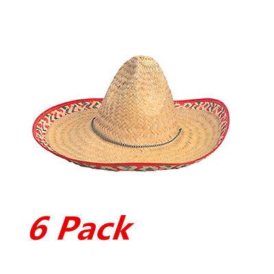 6 Pack New Mexican Sombrero Hat Cinco De Mayo Spanish Costume Festive Salsa
