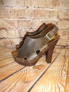0d4c583d433 Womens Kensie Girl Open Toe Sling Backs Chocolate Brown Heels Shoes ...