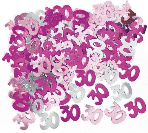 Geburtstag Konfetti Streu Deko Metallic Pink//Rosa//Silber Zahl 30 Folie 1cm Ø 30