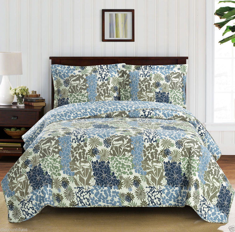 Luxury blueeee Green Oversized Microfiber Coverlet Quilt Set with Pillow Shams