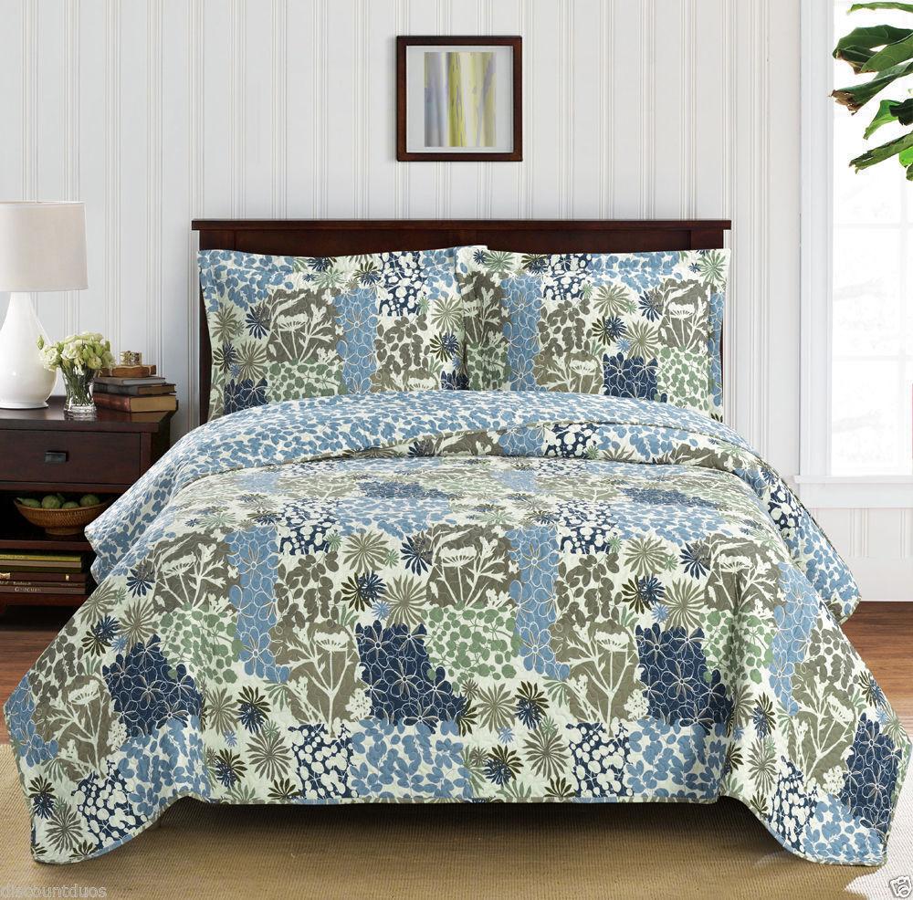 Luxury Blau Grün OverGrößed Microfiber Coverlet Quilt Set with Pillow Shams