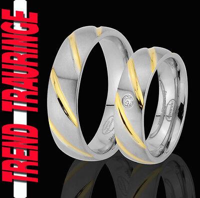 2 Ringe Eheringe Trauringe Verlobungsringe Gold Platiert Gravur Gratis Te59-1