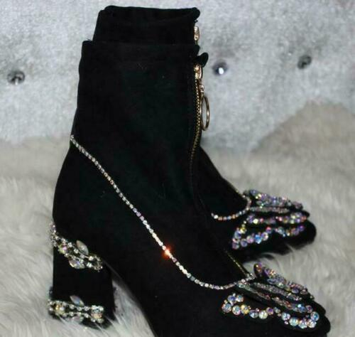 Womens Rhinestones Butterfly Pointy Toe Ankle Boots Block Mid Heels Shoes Zip