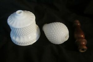 Vintage-Milk-Glass-Lamp-Parts-2-Hobnail-Glass-Pieces-and-1-Wooden-Spacer