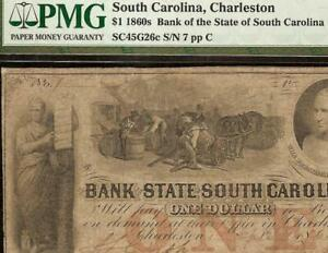 1861-1-LOW-LUCKY-7-SOUTH-CAROLINA-BANK-NOTE-LARGE-CURRENCY-PAPER-MONEY-PMG