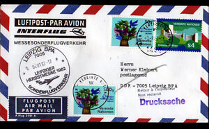 ENVELOPPE-Timbree-034-NATIONS-UNIES-034-Obliteration-Flamme-postale-AVIATION-en-1982