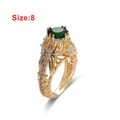 14k Gold Plated Emerald Diamond Zircon Gemstone Ring  Engagement Wedding