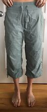 LULULEMON Size 10 Studio Crop Gray Green Yoga Pants Dance EUC Crops Flow Wunder