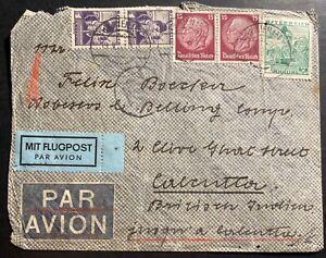 1938 Vienna Austria Airmail Mixed Franking Cover To Calcutta India