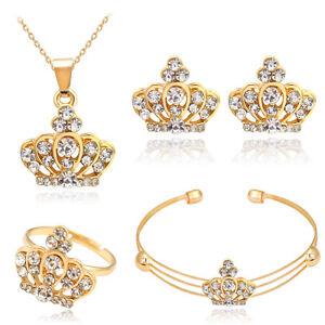 Wonderful-Crown-Pendant-Rhinestones-Necklace-Ring-Bangle-Earrings-Jewelry-Set