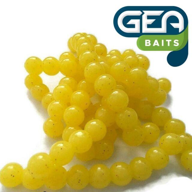 SOFT LURE 50 X Yellow D Salmon Eggs Carp Fishing TROUT fly fishing 10 mm Bait