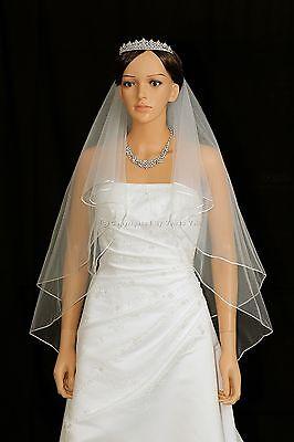 2T White Elbow Length Rattail Edge Center Gathered Bridal Wedding Veil