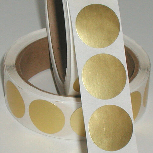 Roll of 500 Peel /& Stick Labels 1 Inch Circle Dull Gold Metallic Foil Seals