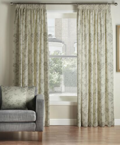 One Pair Of MONTGOMERY Thick Pewter Floral Velddrif Pencil Pleat Lined Curtains