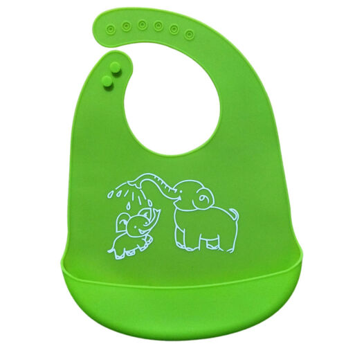 2PCS Waterproof Soft Silicone Bibs Feeding bib Kids Roll up Food Catcher Pocket