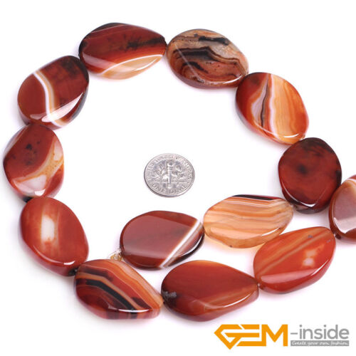 Oval Banded Stripe Sardonyx Red Agate Gemstone Loose Beads For Jewelry Making