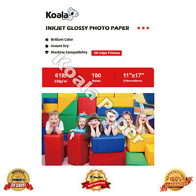 Koala 11x17 Premium 100 Sheets Glossy Inkjet Printer Photo Paper Epson Canon HP