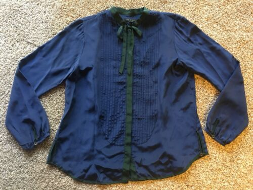 Rag & Bone blouse forest Green Navy Tuxedo Style F