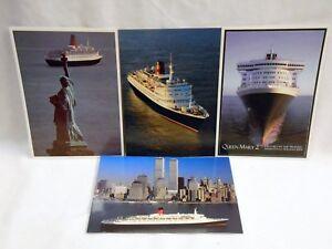 Cunard QE2 QM2 Caronia Cruise liner Postcards x 4