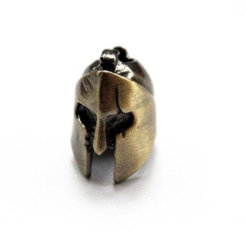 Bronze SPARDA Guerrier Casque Paracord Couteau cordon perles Parachute Cordon Pendentif