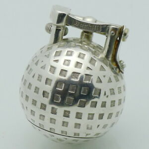 DUNHILL-Lighter-GOLF-BALL-Petrol-Table-Double-Wheel-2-Sterling-Silver-1929