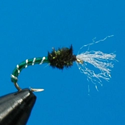 4x GREEN PEACOCK BUZZER TROUT FISHING FLY #12 c38